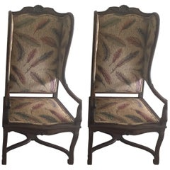 Pair of Late 19th Century French Provincial Louis XVI Style Modified Wing Chairs
