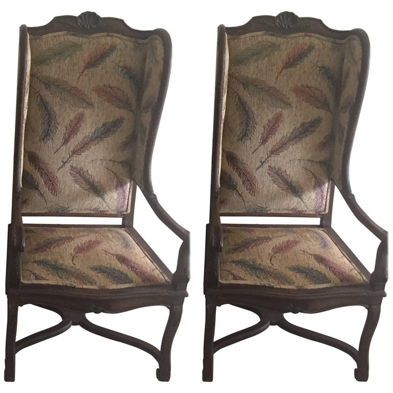 Pair of Late 19th Century French Provincial Louis XVI Style Modified Wing Chairs For Sale