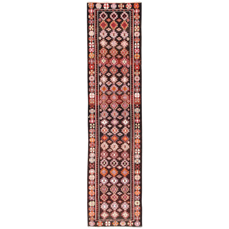 Brown Background Colorful Vintage Turkish Oushak Runner with Geometric Design
