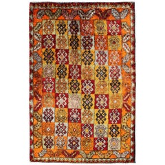 Tribal Checkerboard Design Vintage Turkish Tulu Rug with Bright Multi-Colors