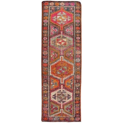 Vintage Turkish Oushak Runner with Four Colorful Tribal Medallions