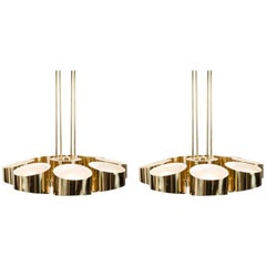 Marcel Asselbur, Pair of Midcentury Brass Chandeliers, France, 1955