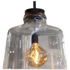 Italian Craft Crystal Pendant Fixture, Designed by Brendan Bass