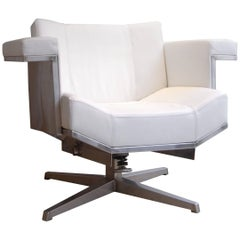 Contemporary Superdeluxe Armchair in White Leather and Stainless Steel
