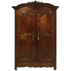 18th Century Louis XV Weeding Armoire from Brittany in Fruitwood