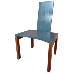 Brutalist Minimalistic Large Chair in Light Blue and Clear Lacquer