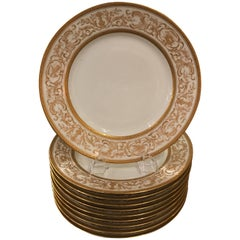 Set of Ten French Plates with Raised Gilt Borders