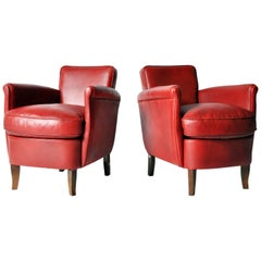 Pair of Petite Red Leather Club Chairs
