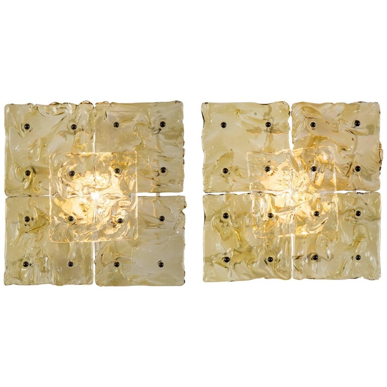 Venini Pair of Murano Glass Patchwork Ceiling / Sconces