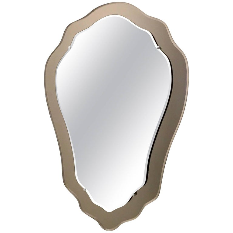 Wall Mirror with a Bronze Mirrored Frame, Italy, 1950s
