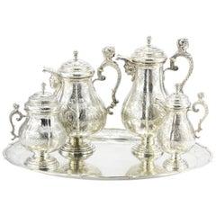 Antique Georg Roth Hanau German Silver Figural Revival Five-Piece Tea Set