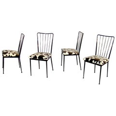 Four Chairs in Lacquered Metal in the Style of Colette Gueden, circa 1960