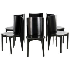 Set of Six Italian Black Lacquered Leather Dining Chairs, Late 20th Century