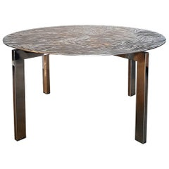Contemporary Limited Edition Round Aluminum Steel Table by Andrea Salvetti