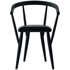 """""""Lina"""" Black Painted Ash Armchair with Padded Seat by P. Bertolini for Adele-C"""