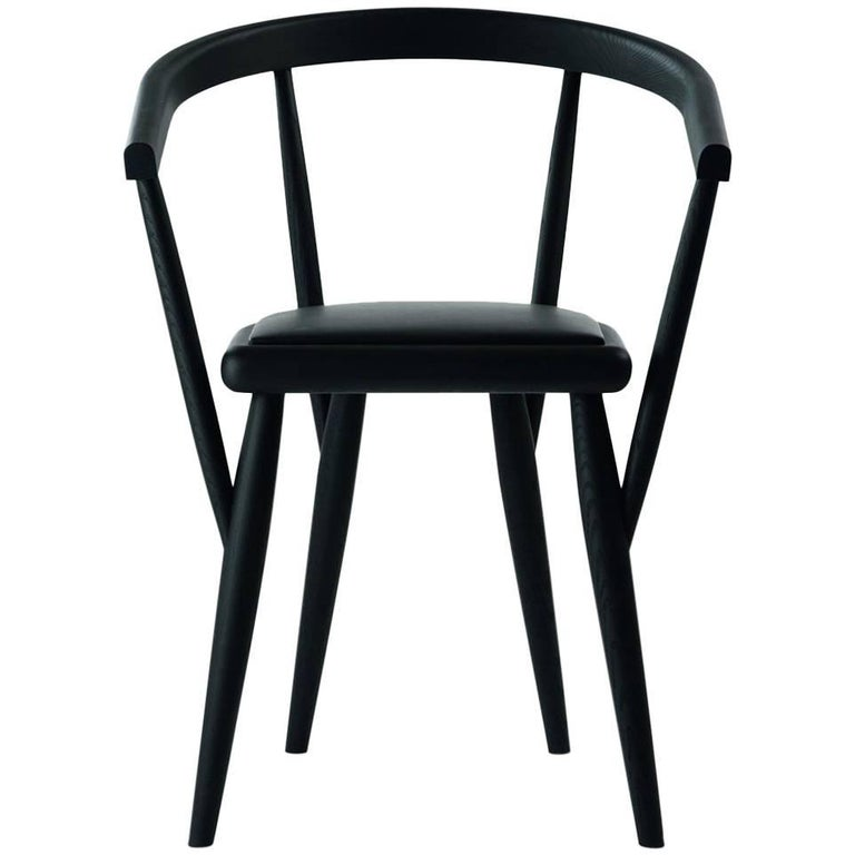 """Lina"" Black Painted Ash Chair with Padded Seat by P. Bertolini for Adele-C"