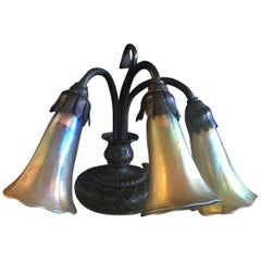 Bronze & Gold Favrile Glass Three-Light Pond Lilly Piano Lamp by Tiffany Studios