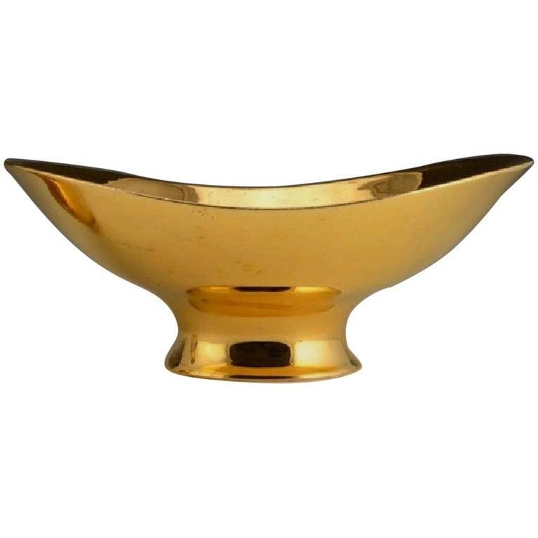 Eva Zeisel Large Golden Fruit Bowl, Tommorrow's Classic for Hallcraft