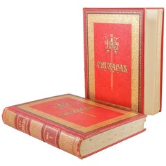 Two Volume Set Large 19th Century Spanish Red and Gold Tooled Books the Crusades