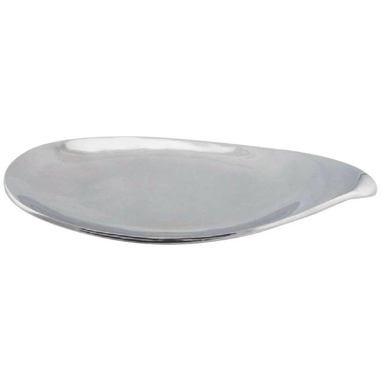 Large Eva Zeisel Biomorphic Silver Platter for Nambe