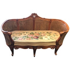 French Louis XV Style Hand-Carved Settee