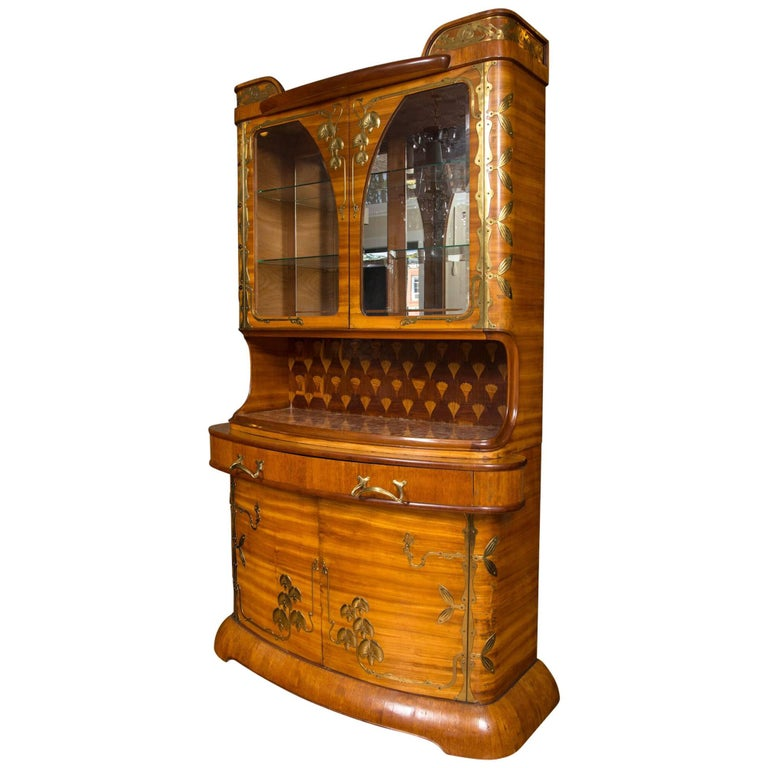 Art Nouveau Louis Majorelle Brass-Mounted Fruitwood Cabinet