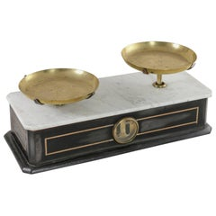 19th Century Napoleon III Period Set of Double Faced Pastry Scales, Brass Pans
