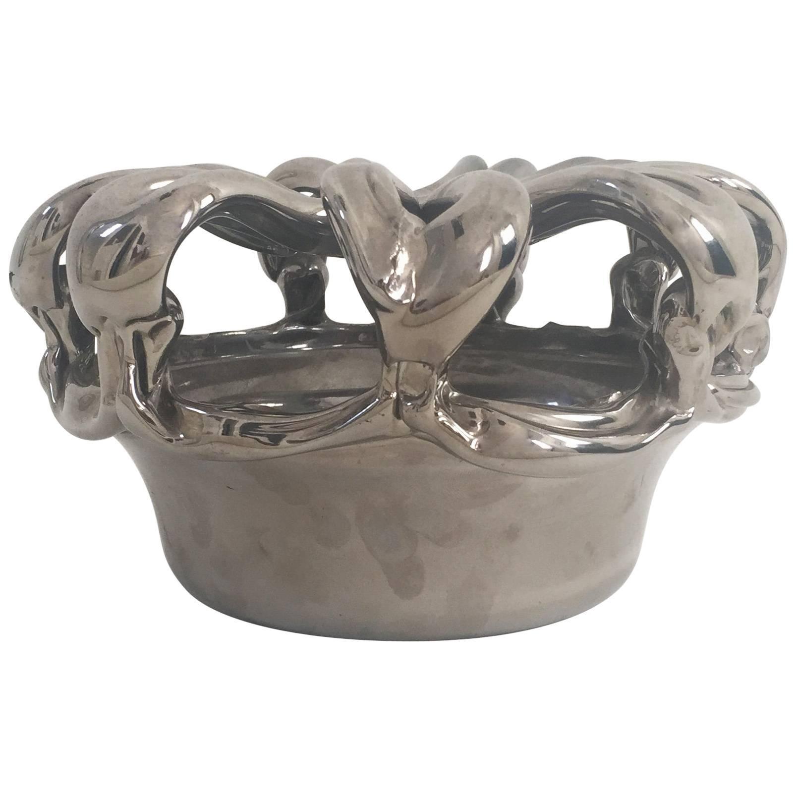 Vintage Sculptural Chromed Glass Bowl
