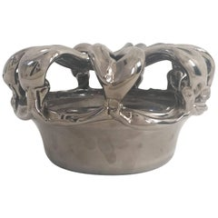Vintage Sculptural Chromed Glass Bowl