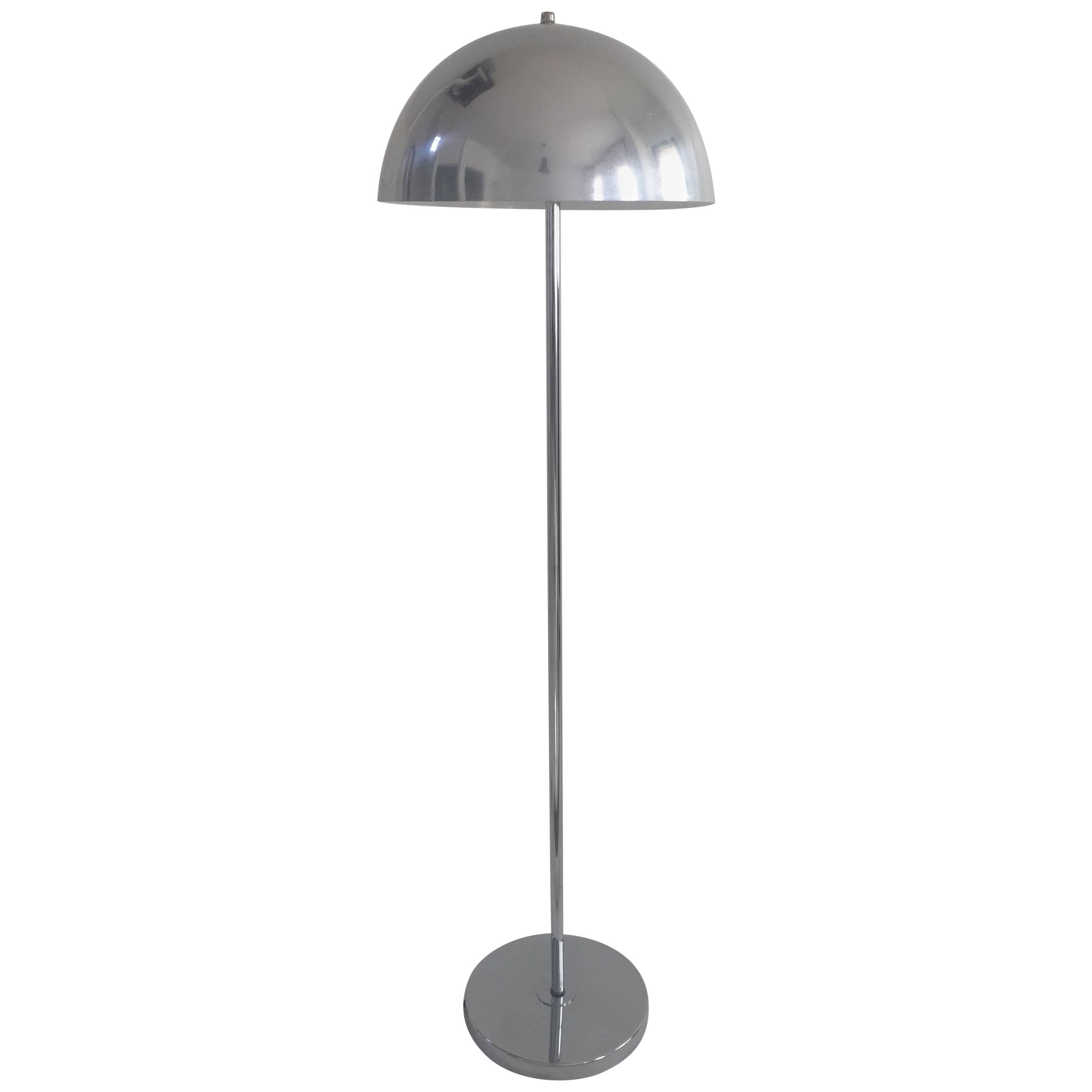 1970s Modernist Chrome Floor Lamp