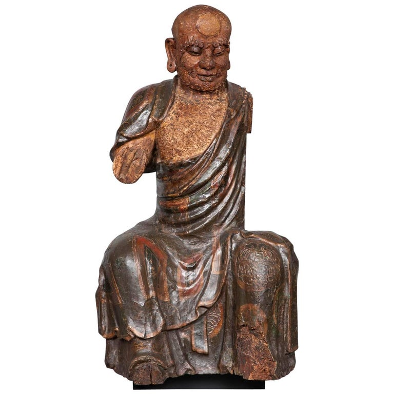 Chinese Ming Dynasty Wooden Sculpture of Arhat 'Luohan', 16th Century