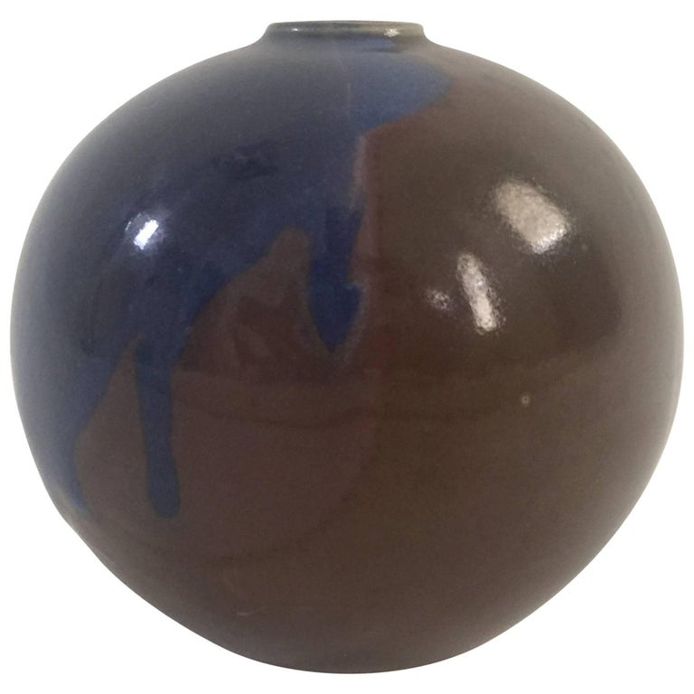1970s Blue and Brown Ceramic Vase by Diane Love For Sale