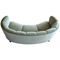 Banana Form or Curved Sofa by Slagelse Mobelvaerk in the Manner of Viggo Boesen