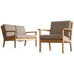 Hans Wegner Loveseat and Easy Chair Model GE-265 for GETAMA, Denmark