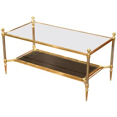 Mid-20th Century French Brass Steel and Leather Coffee Table from Maison Jansen