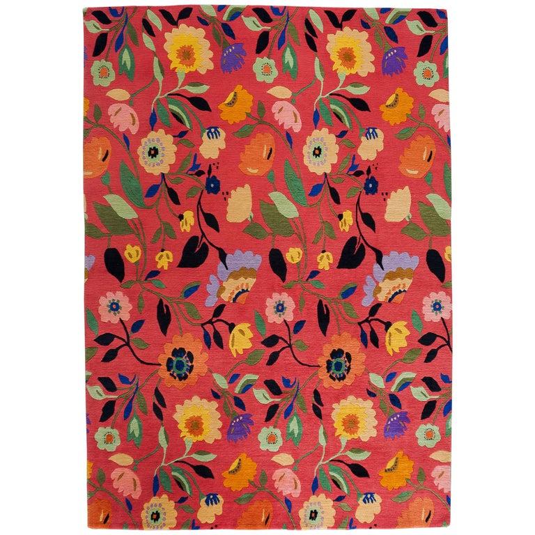 Black Flower 21st Century Op Art Set: Contemporary Floral Pattern Rug For Sale At 1stdibs