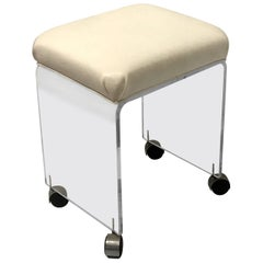 Postmodern Minimalist Waterfall Lucite Upholstered Vanity Stool on Casters