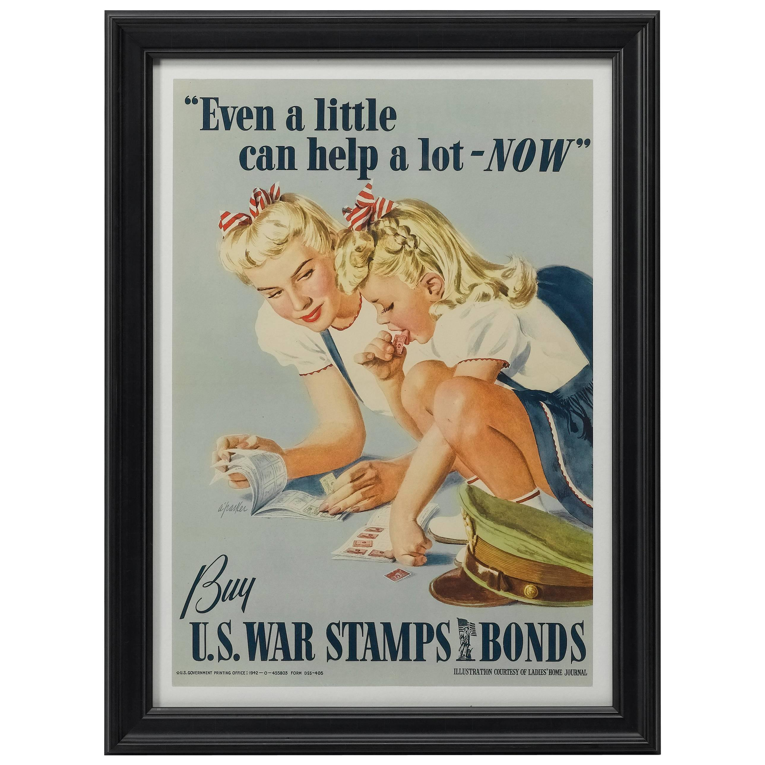 """""""Even a Little Can Help a Lot - Now"""" Vintage WWII Poster, 1942"""