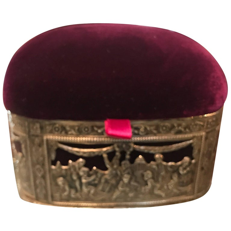 Continental Silver and Velvet Trinket Box For Sale