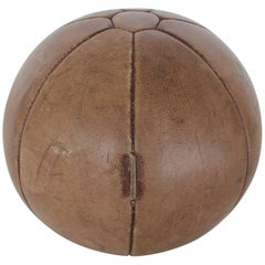 1930s French Leather Medicine Ball