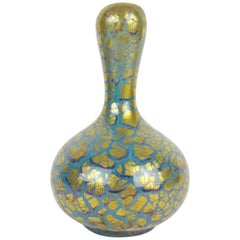 Antique French Mougin Frères Vase with Golden Art Nouveau Metallic Glaze