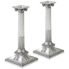 Extremely Rare Pair of George III Neoclassical Ionic Column Candlesticks
