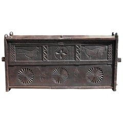 17th Century Jacobean Colonial Oak Chest with Hand-Carved Birds