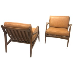 Pair of Danish Modern Chairs in Leather by Kofod Larsen