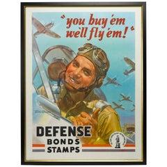 """1942 """"You Buy 'Em / We'll Fly 'Em!"""" Vintage WWII Poster"""