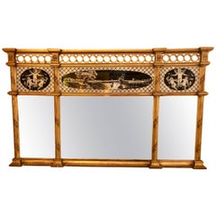 Neoclassical Style Verre Églomisé Overmantel or Console Mirror