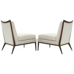Paul McCobb for Directional Walnut Frame Slipper Chairs, Model 1320