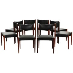 Set of Eight Scandinavian Mid-Century Modern Rosewood Dining Chairs