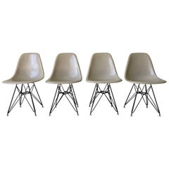 Charles Eames Set of Grey Fiberglass Eiffel Tower Base Chairs for Herman Miller