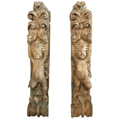 Exquisite Pair of Early French 17th Century Corbels